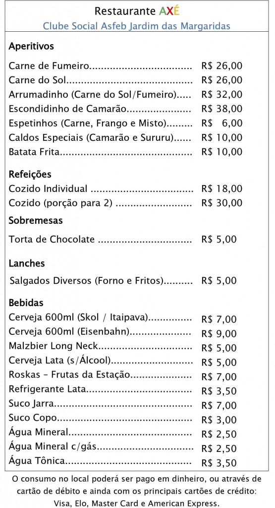 Restaurante AXÉ - Cardápio Final